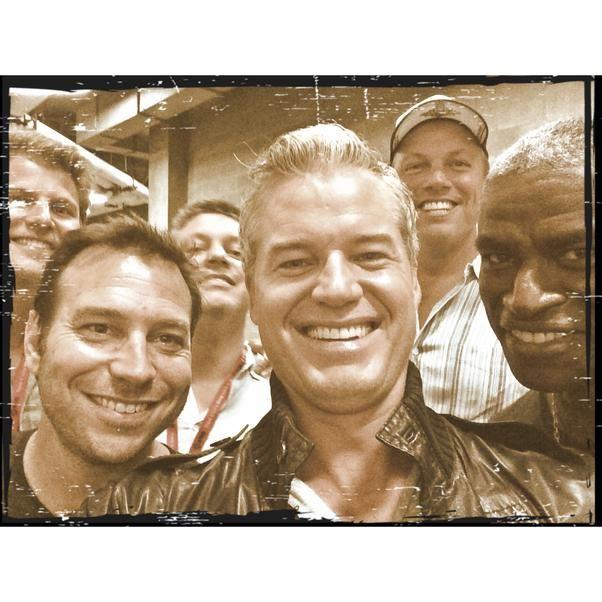 Eric Dane's first selfie. Includes Charles Parnell, Adam Baldwin, Steven Kane, Travis Van Winkle and Hank Steinberg