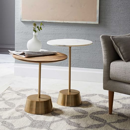 Maisie Side Table, Tall, Oregano/Antique Brass
