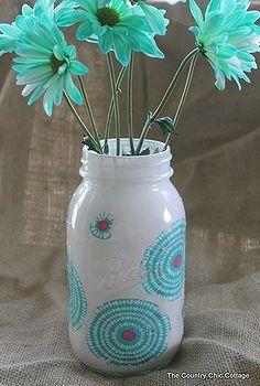 five ways to decorate mason jars, crafts, decoupage, mason jars, Fabric and paint combine onto this fabulous jar