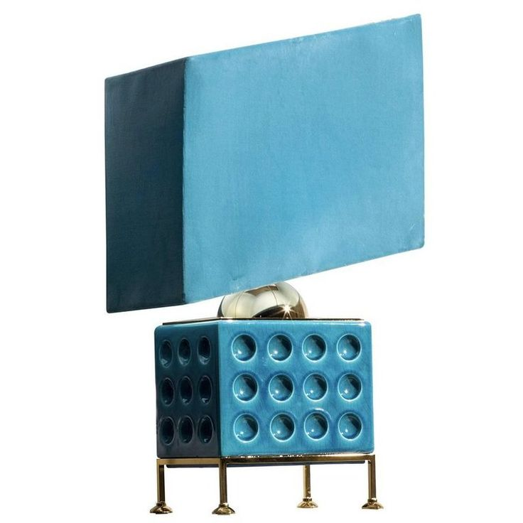 Turquoise Brass and Ceramic Table Lamp | From a unique collection of antique and modern table lamps at https://www.1stdibs.com/furniture/lighting/table-lamps/