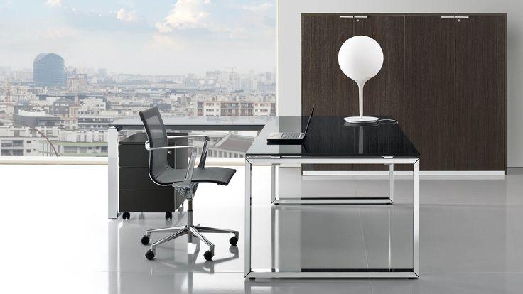 Glasschreibtisch Schreibtisch mit Glasplatte 200x100 cm mit Ansatztisch mit schwarzer Glasplatte Aktenschrank Highboard Breite 100 cm mit 4 Ordnerhöhen und Flügeltüren in Wenge Dekor