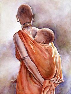 "Daily Paintworks - ""Massai Mother II"" - Original Fine Art for Sale - © Judy Downs"