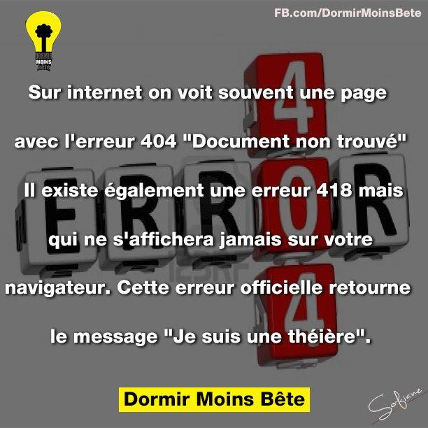 """Sur internet, on voit souvent une page avec l'erreur 404 """" document non trouvé"""" il existe également une erreur 418 mais qui ne s'affichera jamais sur votre navigateur. Cette erreur officielle retourne le message """" je suis une  théière""""."""