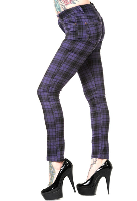 Banned skinny jeans purple tartan UK 10 emo goth scene punk FREE UK POST