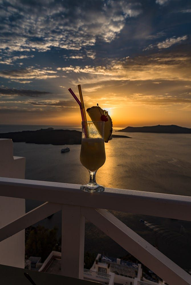 Sunset cocktail, Santorini, Greece