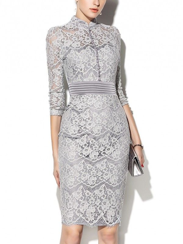 Shop - Grey Hollow Out Lace Midi dress With Buttons Front on Metisu.com. Discover stylish and vogue women's dresses for the season. Regular discounts up to 60% off.