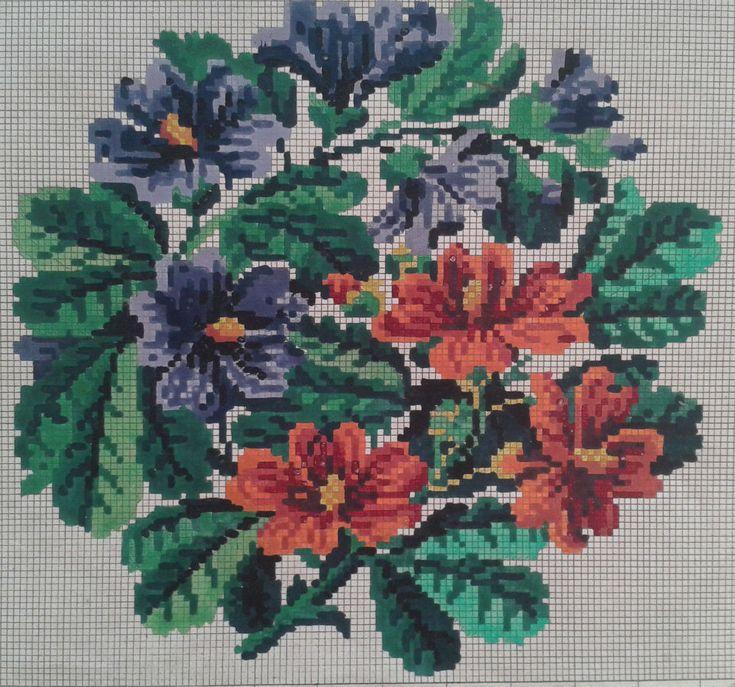 Berlin Woolwork Pattern Flowers Wien bey A. Paterno Stickvorlage Biedermeier