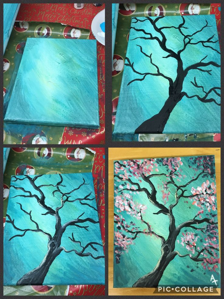 Step by step pink flowering tree painting with pretty teal blue background.