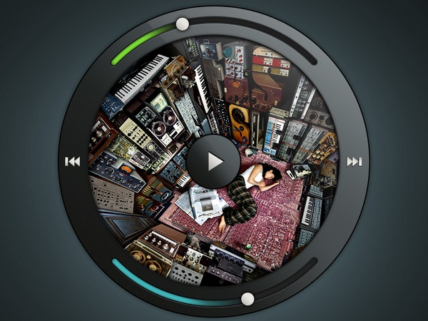A little music player concept.  Check the play animation concept  and the next song animation concept