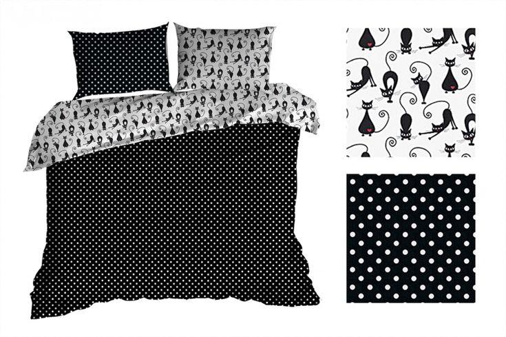 Obojstranné čierno biele posteľné obliečky s guličkami a mačkami