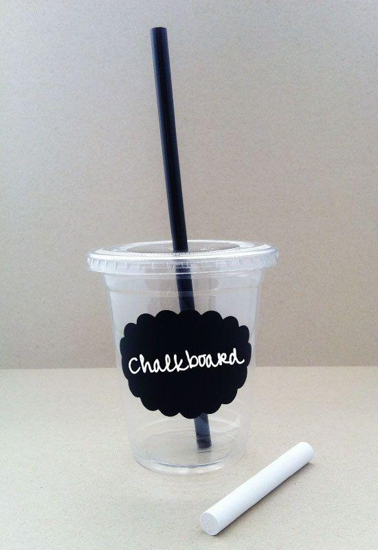 24 Chalkboard Disposable Party Cups Lids Plastic by SweetKaity, $24.00