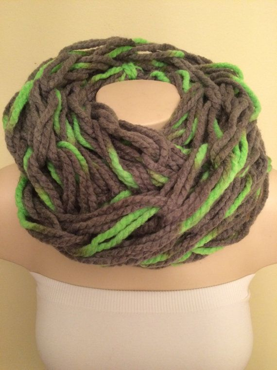 iScarf  Chunky Arm Knit Infinity Scarf  Grey/Neon Green by iHooked