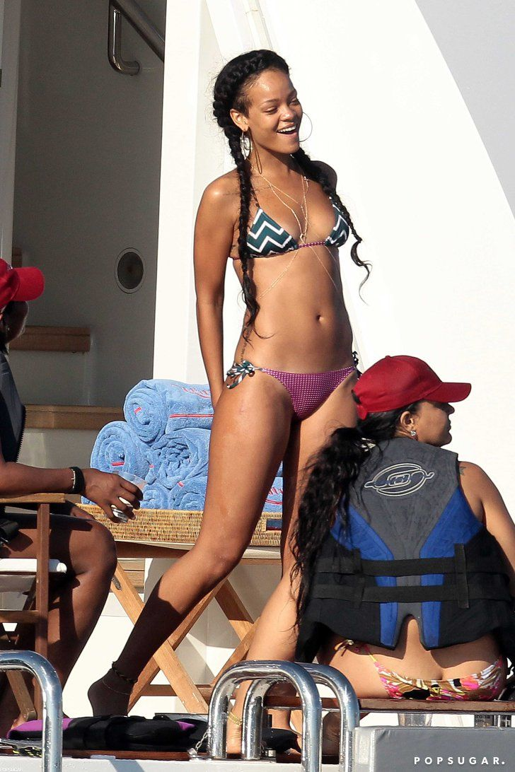 Pin for Later: The Ultimate Celebrity Bikini Gallery Rihanna partied on a boat in Saint-Tropez in a patterned bikini in July 2012.