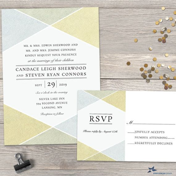 Geometric shapes in faux metallic silver and gold lend a modern look to this industrial chic style wedding suite featuring a modern type treatment against bright white. Set includes an invitation and response card.  PLEASE NOTE: THERE IS NO GOLD OR METALLIC INK OR ELEMENTS USED ON THIS DESIGN. THE IMAGE IS A FLAT, PRINTED DESIGN TO MIMIC A METALLIC LOOK.  If you would like this invitation to suit a different event, we can accommodate any request. Customization of all wording is included. If…