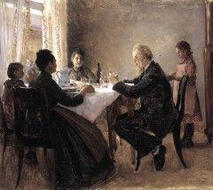 """""""Aamiaispöytä"""" (1890) Eero Järnefelt - Järnefeltin taiteilijankuvasta on mahdotonta kirjoitt.kuvaamatta Järnefeltien erityislaat.perhettä.Perhe seurusteli suomenkiel.sivistyneistön kanssa,mm.Minna Canth ja Juhani Aho kuuluivat ystäväpiiriin.H:ngissä """"Järnefeltien koulu"""" tai """"Elisabethin salonki"""" kokoont.lauantaisin.Perheen muutettua Kuopioon kokoonnutt.Minna Canthin luona """"Kanttilassa"""".Eeron nuorin sisar Aino avioitui sävelt.Jean Sibeliuksen kanssa,Eero itse näyttelijätär Saimi Swanin…"""