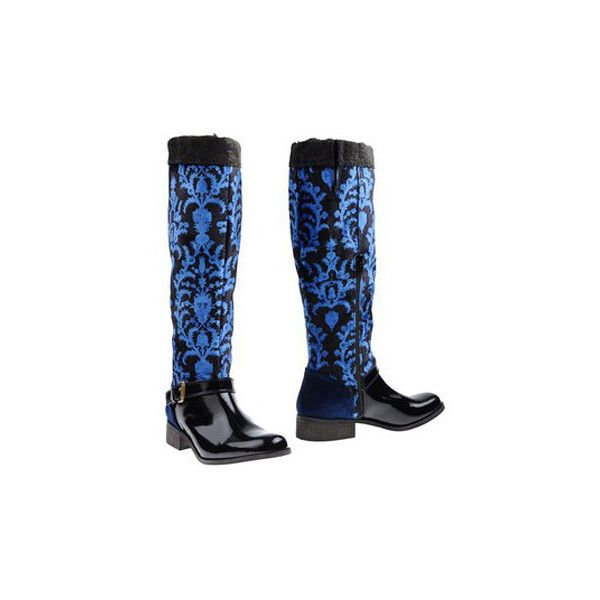 90s DESIGUAL Velour Leather Boots/Tall Riding Damask Print Velvet... ($106) ❤ liked on Polyvore featuring shoes, boots, flat knee high leather boots, tall boots, flat boots, flat leather boots and leather buckle boots