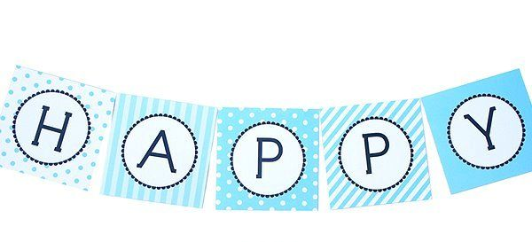 Personalised square bunting - blue