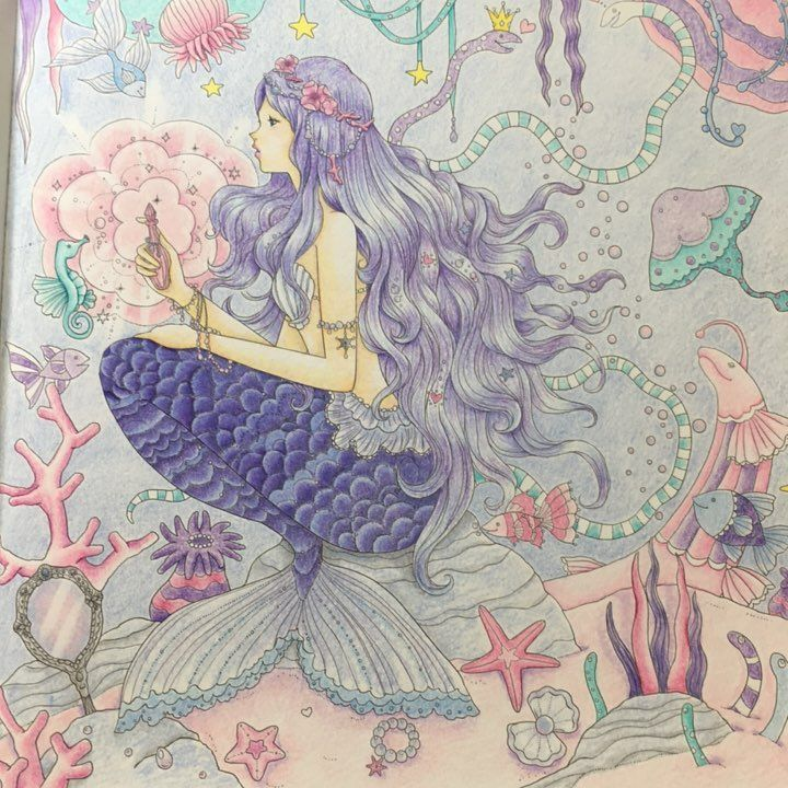 Gefallt 63 Mal 3 Kommentare リラ Rila Cbashi Auf Instagram 魔女のような人魚姫の仕上がり ピンクとミントグリーンでごまかしてみる 大人の塗り絵 夢色プリンセス塗り絵 油性色鉛筆 人魚姫 イラスト 人魚 イラスト