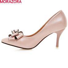 Grande taille 33-43 2016 de haute qualité en cuir souple femmes pompes stiletto haut talons bout pointu bowtie blanc rose partie chaussures(China (Mainland))