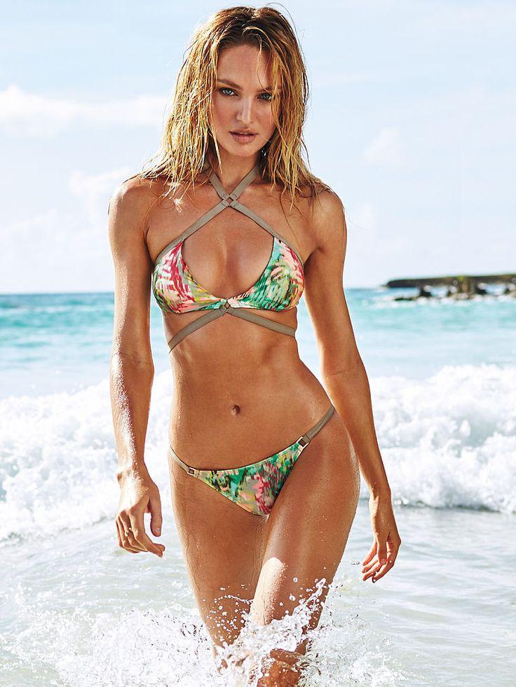 Sexy Triangle Bikini Impreso Halter Green Women Beach Swimwear UPaBEXQqM