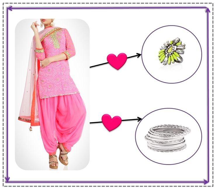 A metal touch!  Pair that pretty pink patiala, with your favourite stack of silver bangles and a chunky ring, for that perfect look.