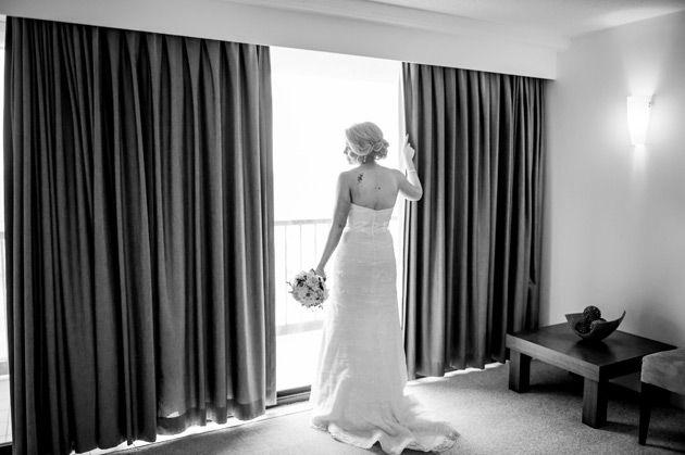 bride looking out the window currumbin wedding
