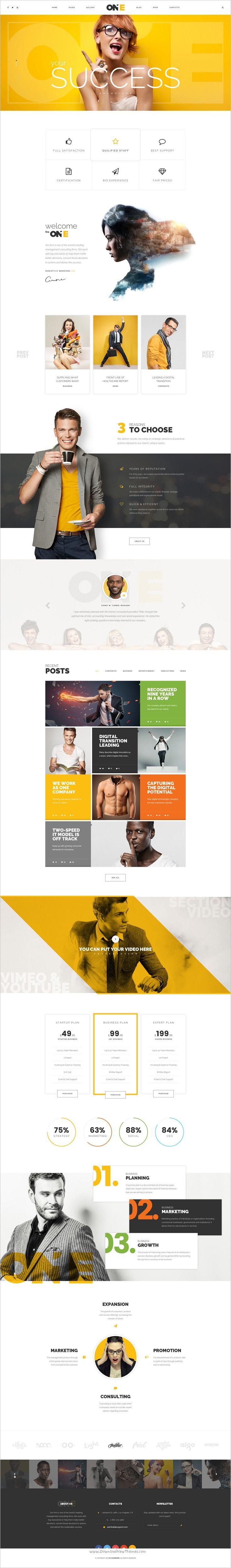 The one is a wonderful #PSD #template for #startups business, corporate management #company or consulting sphere website download now➩ https://themeforest.net/item/the-one-multipurpose-corporate-psd-template/18599171?ref=Datasata