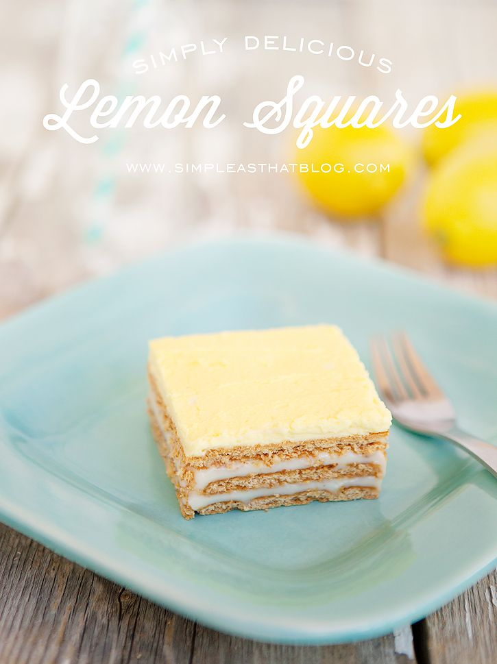Simple and Sweet No-Bake Lemon Squares. #summer #lemon #recipes