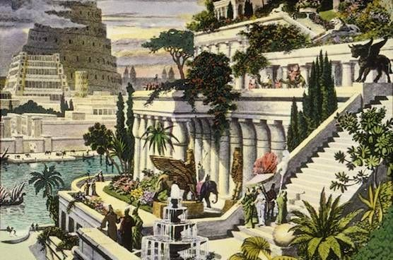 The Hanging Gardens of Babylon, Iraq, also depicts the Tower of Babel in the background. An engraving by Martin   Heemskerck.