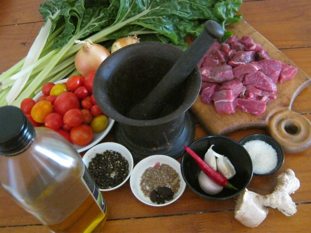 ingredients of shoko a traditional ghanaian beef and spinach stew