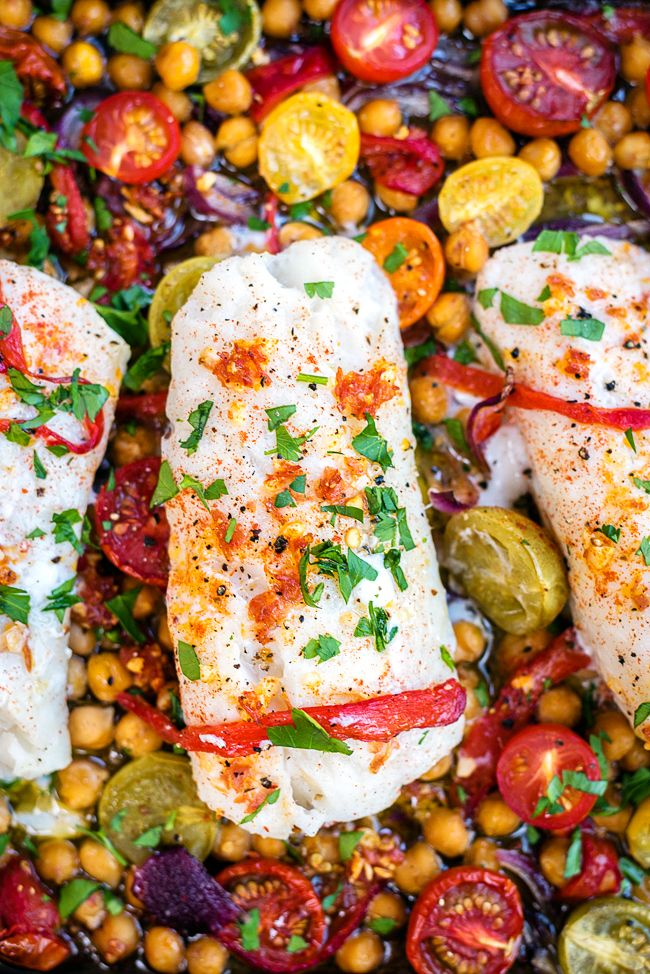 Colourful recipe for cod, chorizo and chick peas with tomatoes