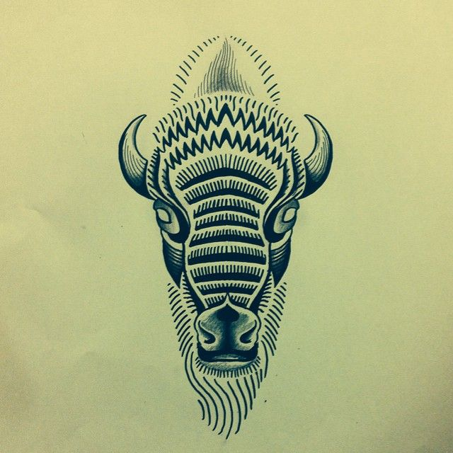 beautiful buffalo tattoo