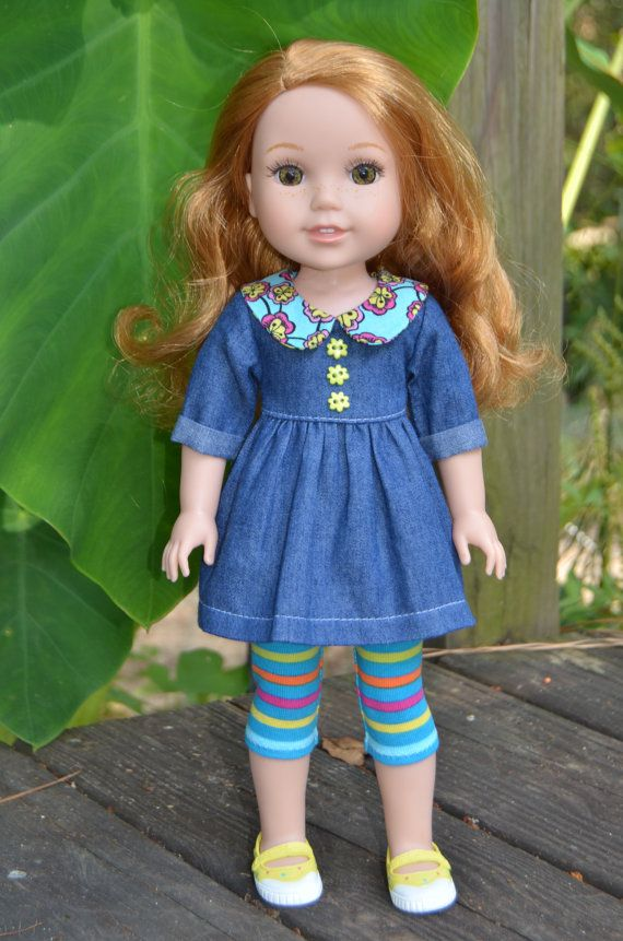 14.5 Inch Doll Clothes- Blouse and Leggings  fits Dolls Like Wellie Wishers .