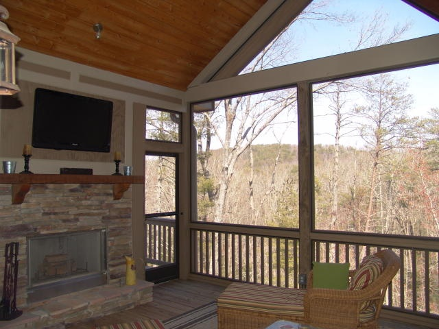 Like the setup of the screened back porch and the mountain scenery