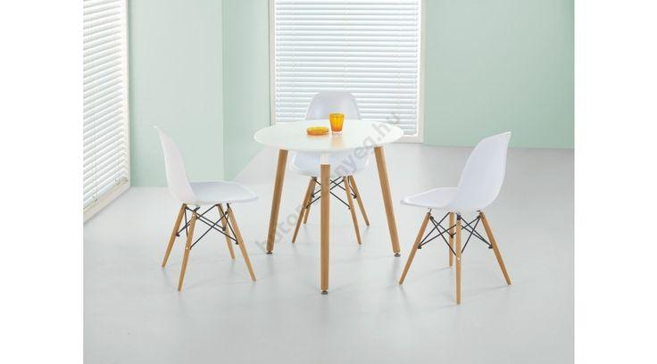 SOCRATES - egy fiatalos, trendy és modern étkezőasztal, lakkozott MDF-ből és tömör bükkből. A köralakú asztal mérete: ø80/74 cm. A fotón K153 székek és K162 székek láthatók az asztallal, melyek nem tartoznak az asztalhoz, de