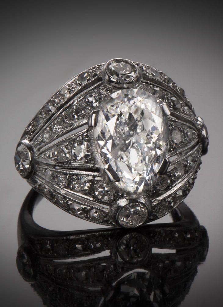 Art Deco diamond ring, French, c1930