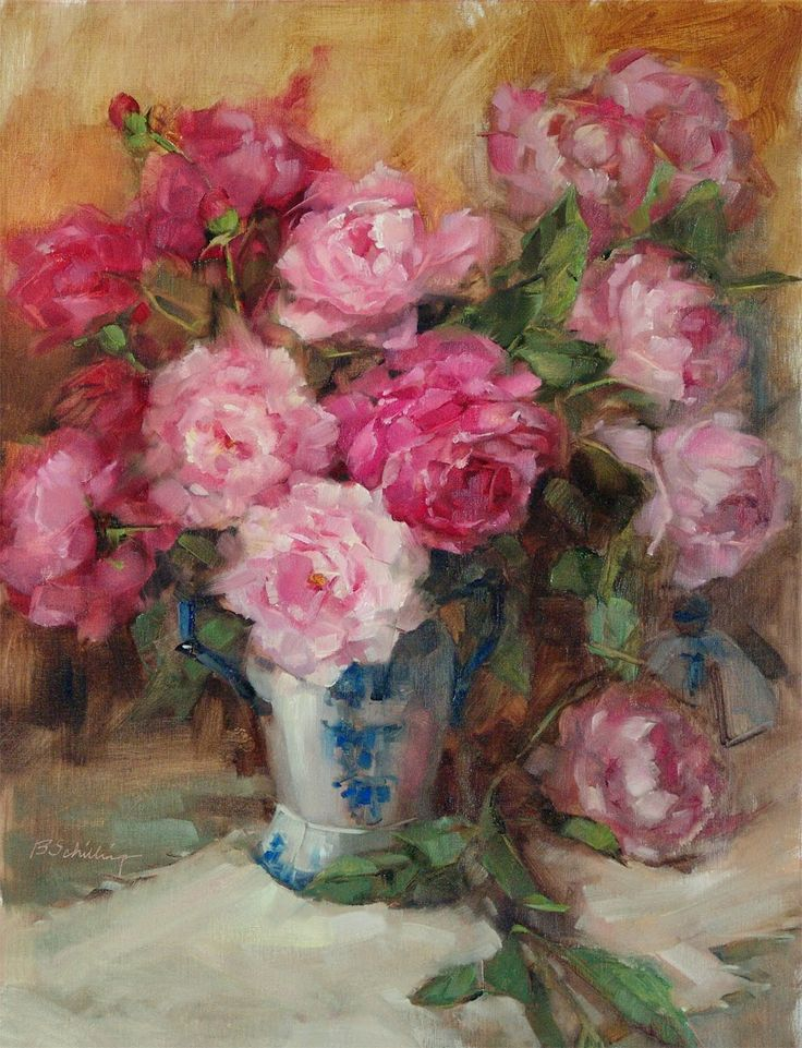 Barbara Schilling Peonies In Blue And White Vase
