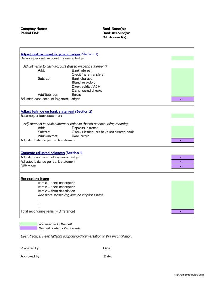 Reconciliation Template Bank Reconciliation Template In