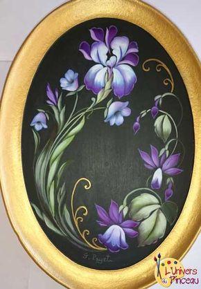 Peinture acrylique : Iris en Zhostovo - Samedi