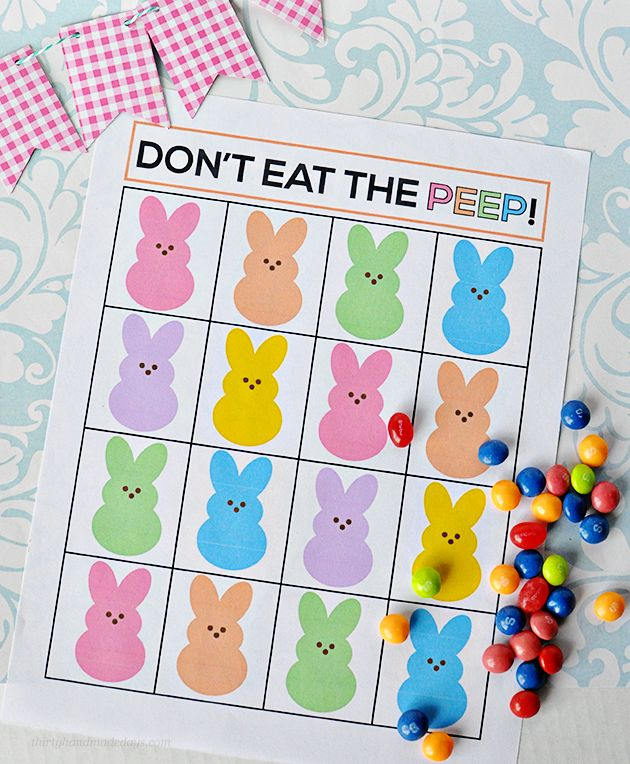 """Super fun """"Don't Eat the Peep"""" Easter game. Print out and play with your family! #yearofcelebrations #easter"""