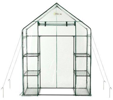 OGrow Deluxe Walk - In 3 Tier 6 Shelf Portable Greenhouse - Light Clear