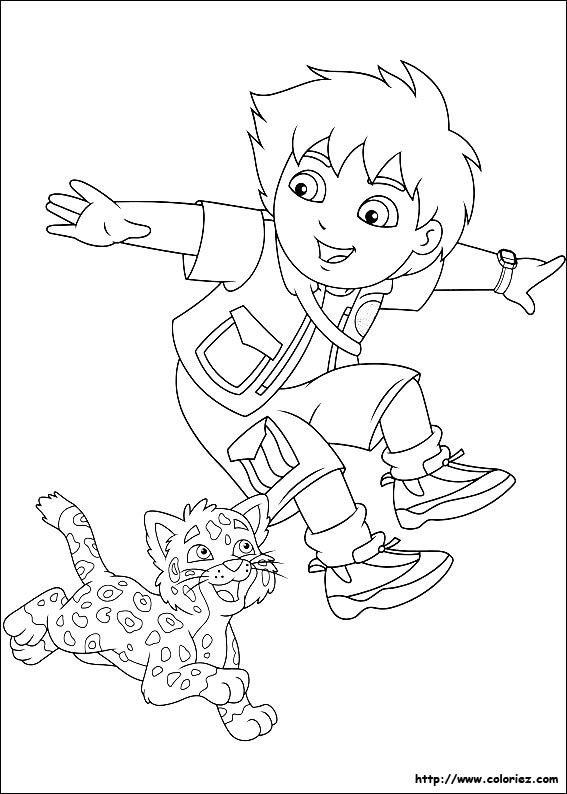 Diego And Baby Jaguar Coloring Page For Birthday Cake Guns Party