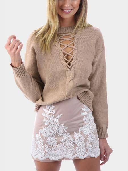 Add some sophistication to your fall vogue with this lace-up classic sweater. This classic sweater features a very nice lace-up detail in low V front. Match this unlined and slightly stretchable sweater with your favorite jeans for a classic fall look that everyone will love.