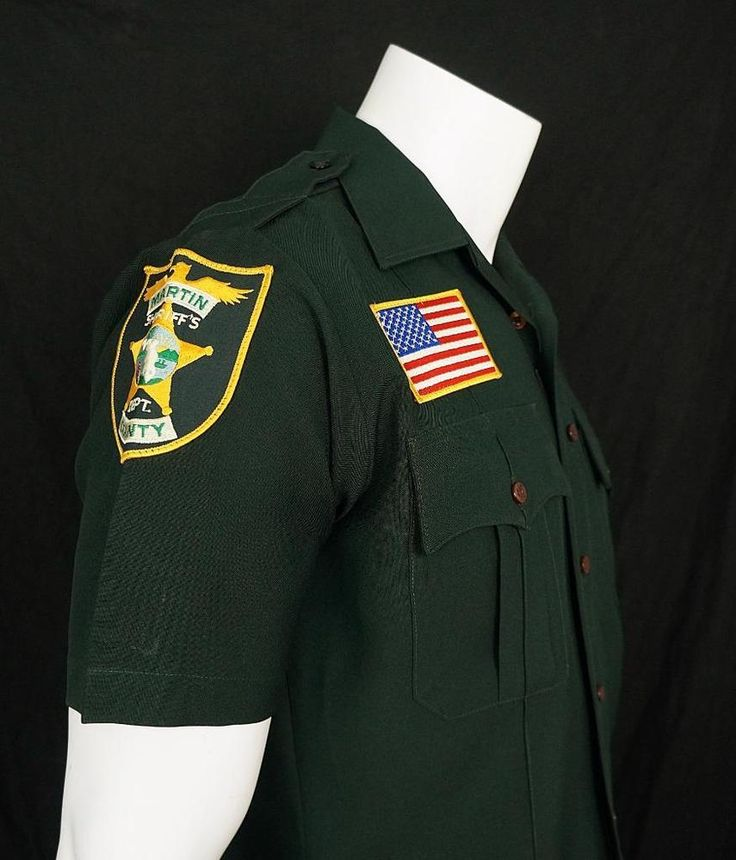 Martin County Florida Sheriff's Dept Shirt with Patches Made in USA sz 15 1/2