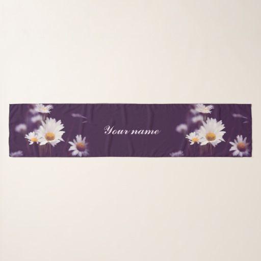 Camomile dreams scarf #scarf #chiffon #chiffonscarf #womenfashion #customized, #personalized, #zazzle, photo, #photography, artwork, buy, sale, #giftideas, #camomile, flowers, divination, love, #violet, #purple, #liliac, #white, dreams, bright, colorful, glow, #petals, #dark, #daisies