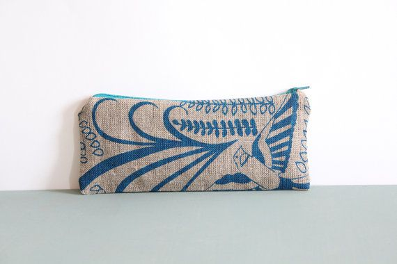 Blue Bird Linen Pencil Case by janeyclothing on Etsy, €9.73