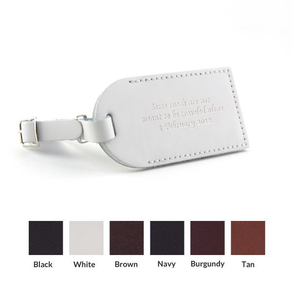 "Leather Luggage Tag wedding favor. LOVE the quote. ""Some roads are not meant to be traveled alone."" with the wedding date."