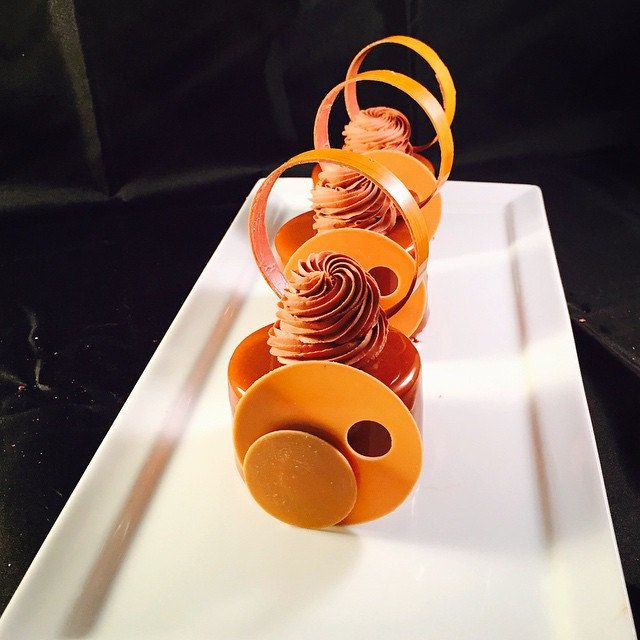 Brownies and chocolate caramel mousse petit gateaux #bachour   by Pastry Chef Antonio Bachour