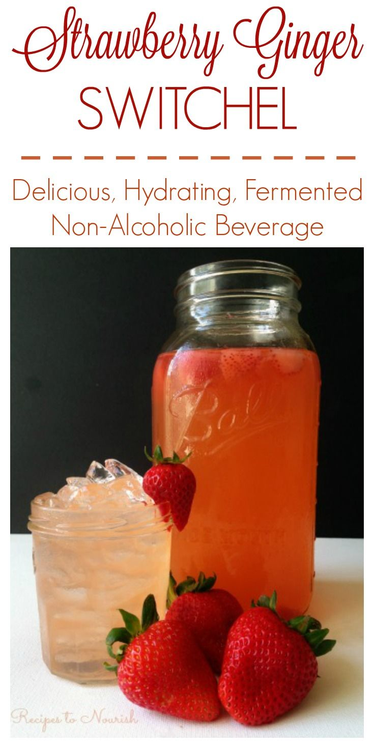 Strawberry Ginger Switchel ... a delicious, refreshing, fermented beverage. This naturally sweetened electrolyte drink is super easy to make and healthy too. | Recipes to Nourish
