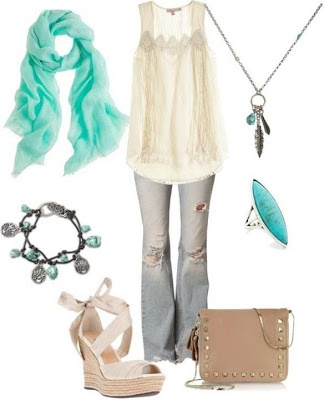 Gauzy blouse, faded jeans, turquoise jewels. Love it. LOLO Moda: Stylish women outfits 2013